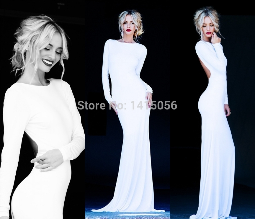 Long sleeved backless maxi dress