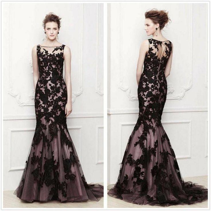 Long Black Applique Mermaid Evening Formal Prom Party Dresses Wedding
