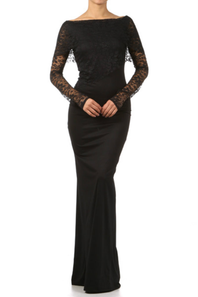 Black Long Sleeve Full Length Dress And Make Your Life