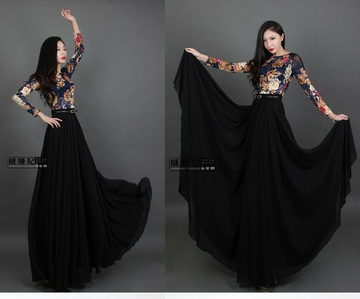 Long dress hitam lengan panjangam