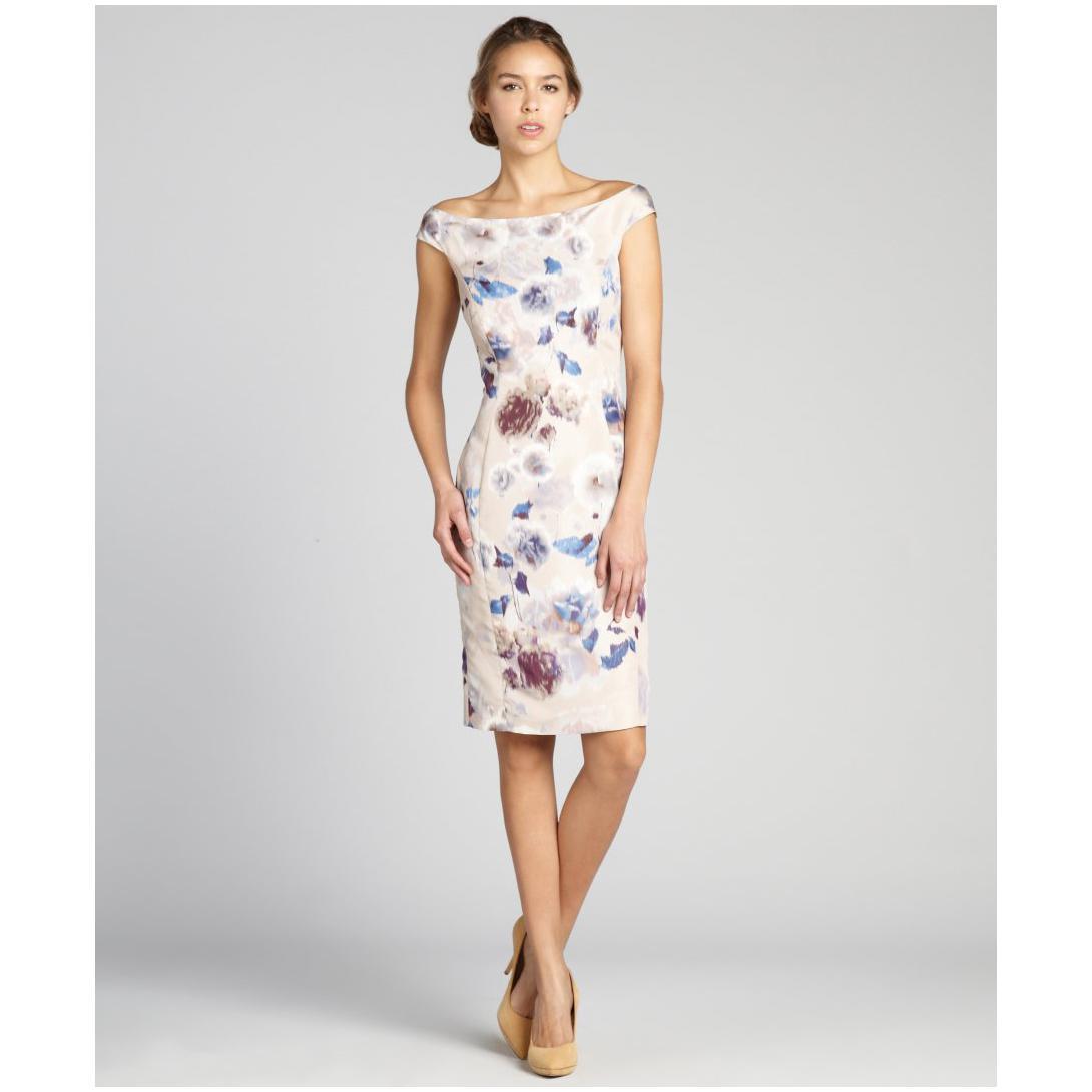 Blue Floral Off The Shoulder Dress & Trend 2017-2018