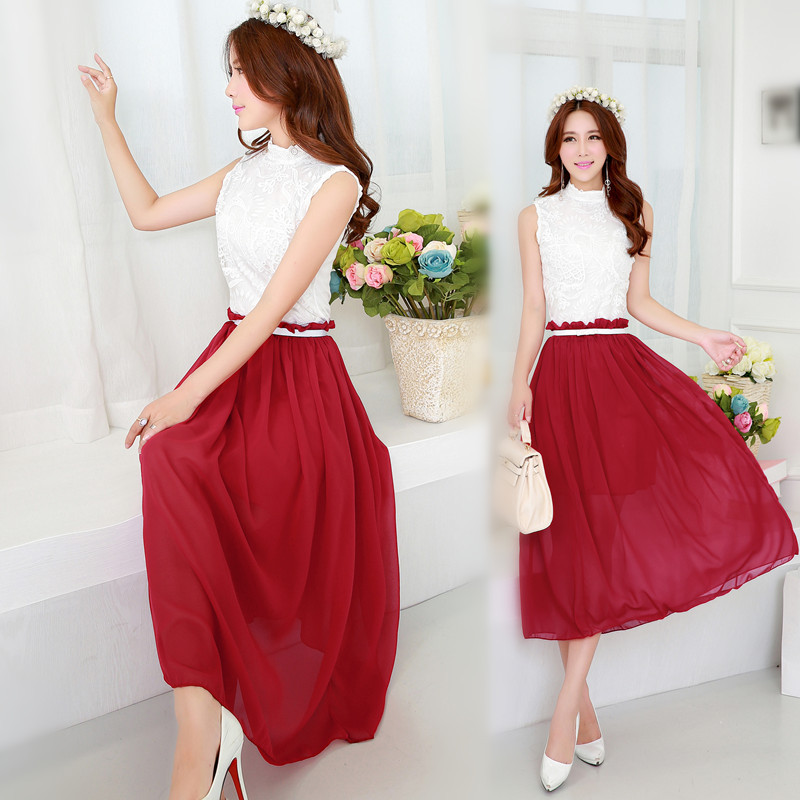 Casual red maxi dress make you look thinner for Wedding dresses that make you look skinny