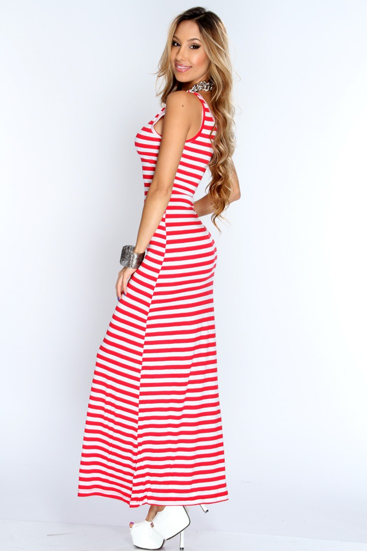 Casual Red Maxi Dress & Make You Look Thinner - Dresses Ask