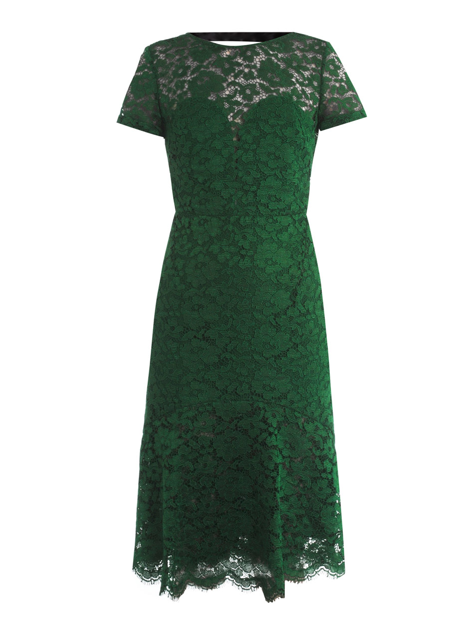 Emerald Green Dress With Black Lace - Fashion Week Collections ...