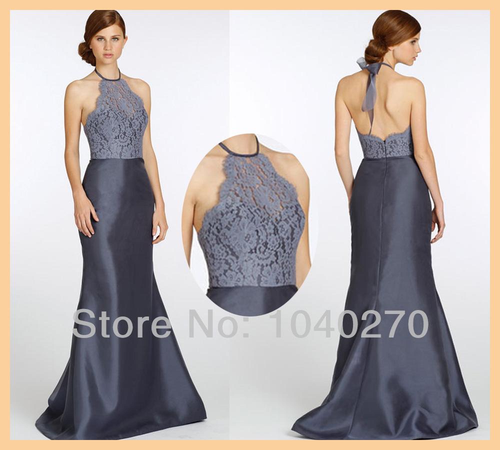 Dark Grey Lace Bridesmaid Dresses