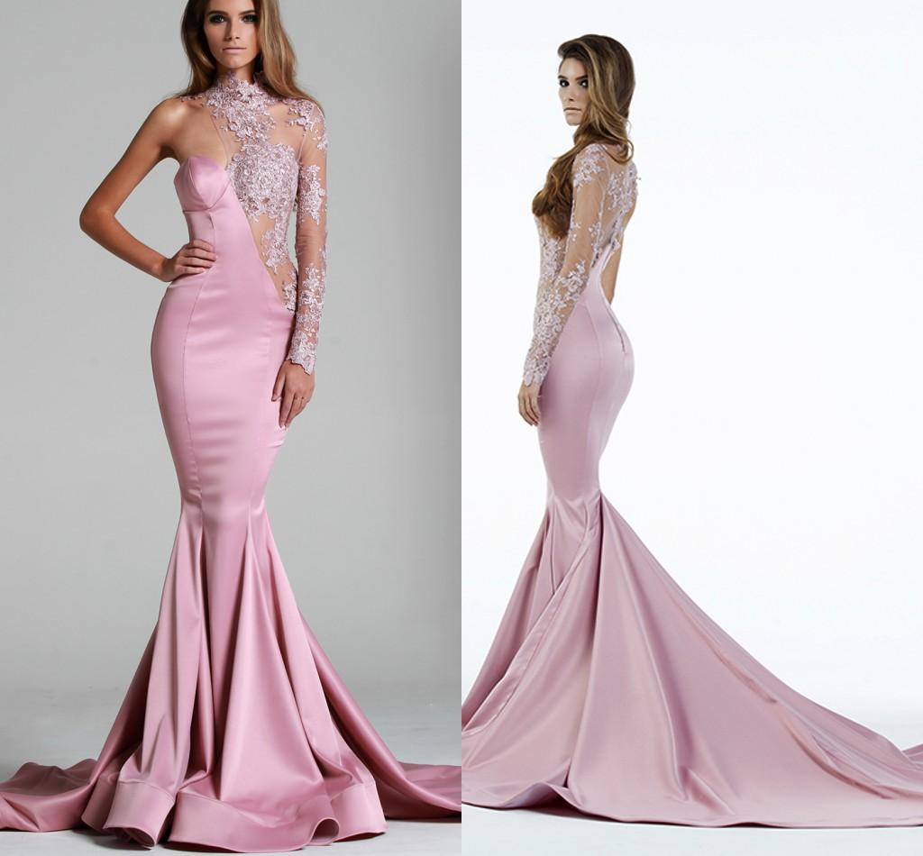 559d84ef9a5 Pink Lace Long Sleeves Evening Dress - Data Dynamic AG