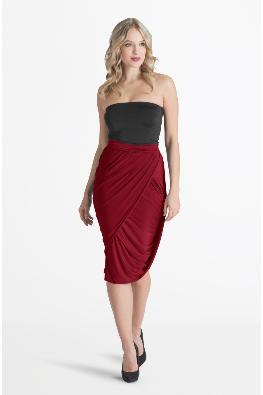 Plus Size Red Midi Dress : Fashion Week Collections