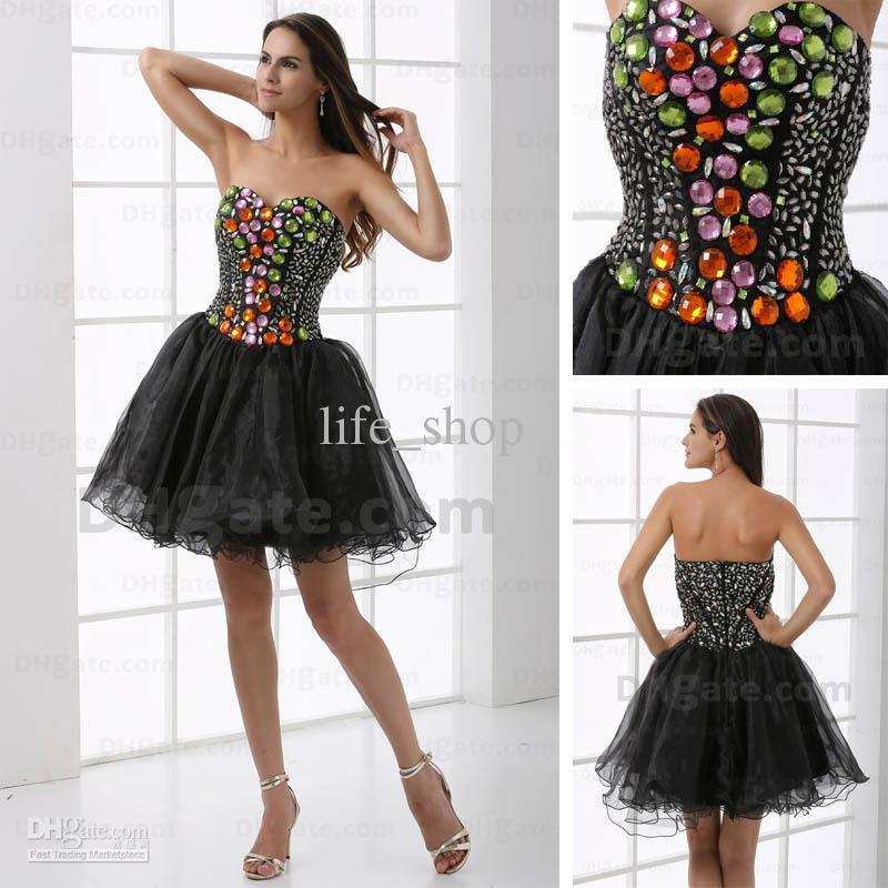 Different colored dresses with black