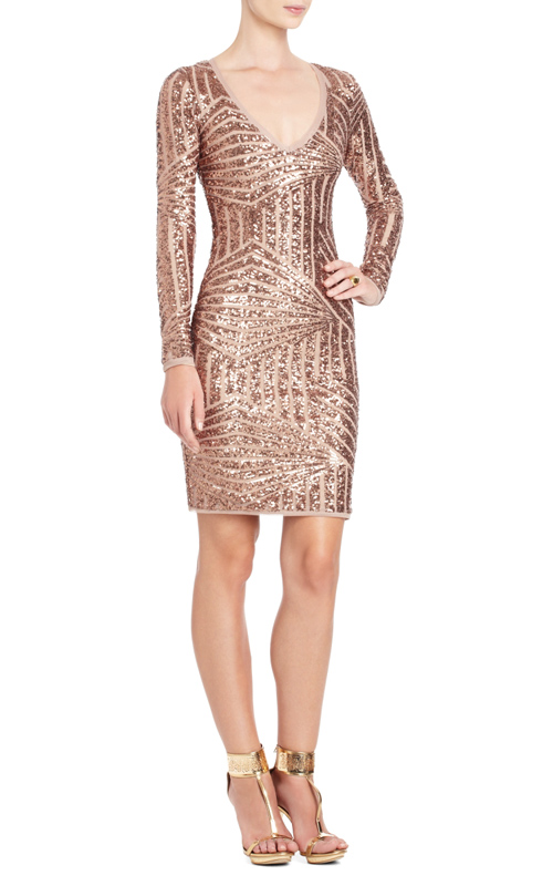 Rose Gold Long Sequin Dress - Details 2017-2018