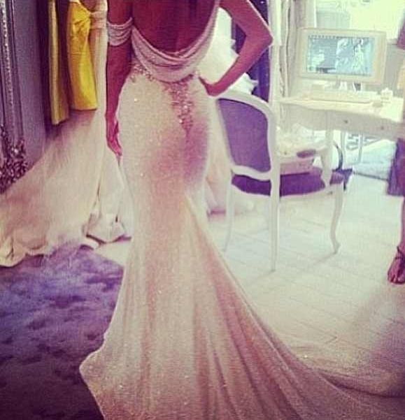 Form Fitting Sequin Wedding Dress