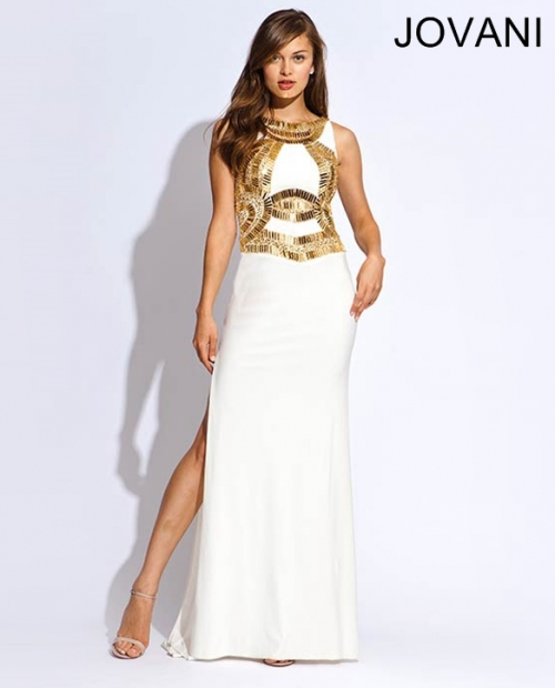 White And Gold Halter Prom Dress : Fashion Week Collections