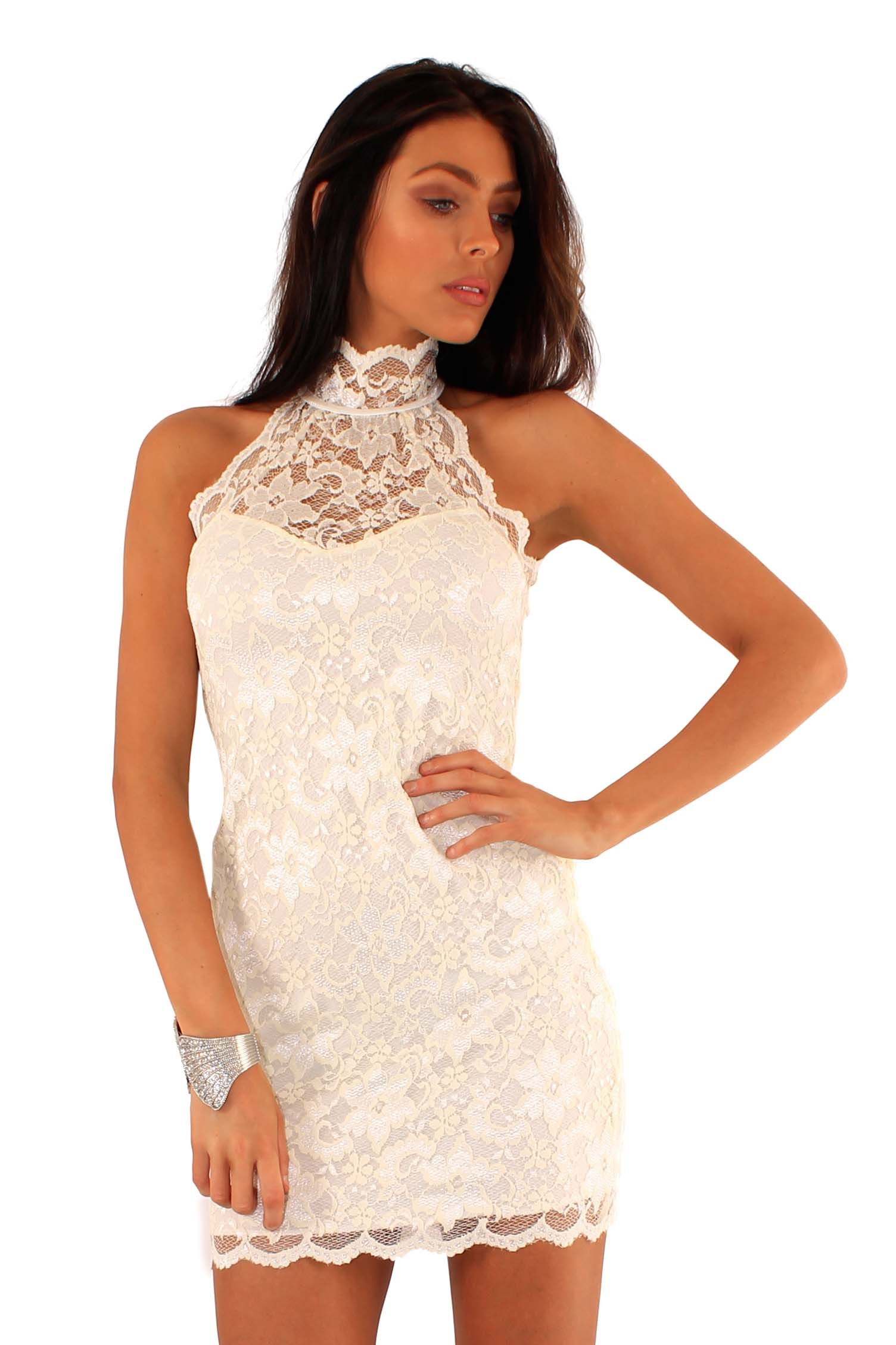White Bodycon Halter Dress : Make You Look Thinner