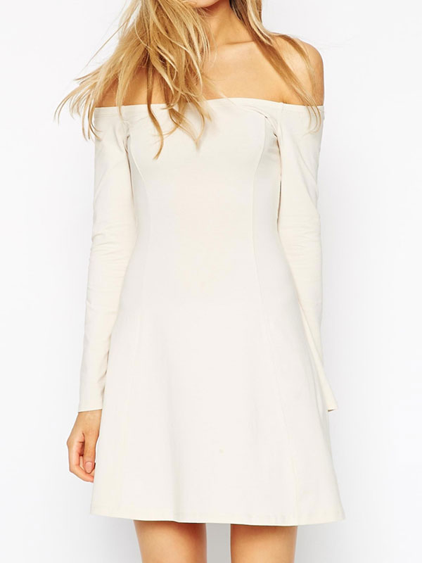 White Long Sleeve Flare Dress & Help You Stand Out