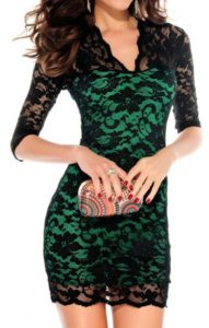 Emerald Green Dress With Black Lace – Fashion Week Collections