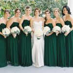 emerald green and white bridesmaid dresses