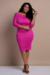 Pink Lace Midi Dress Plus Size