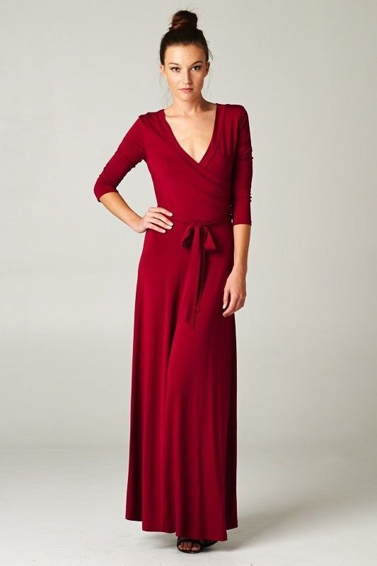 Casual Red Maxi Dress & Make You Look Thinner