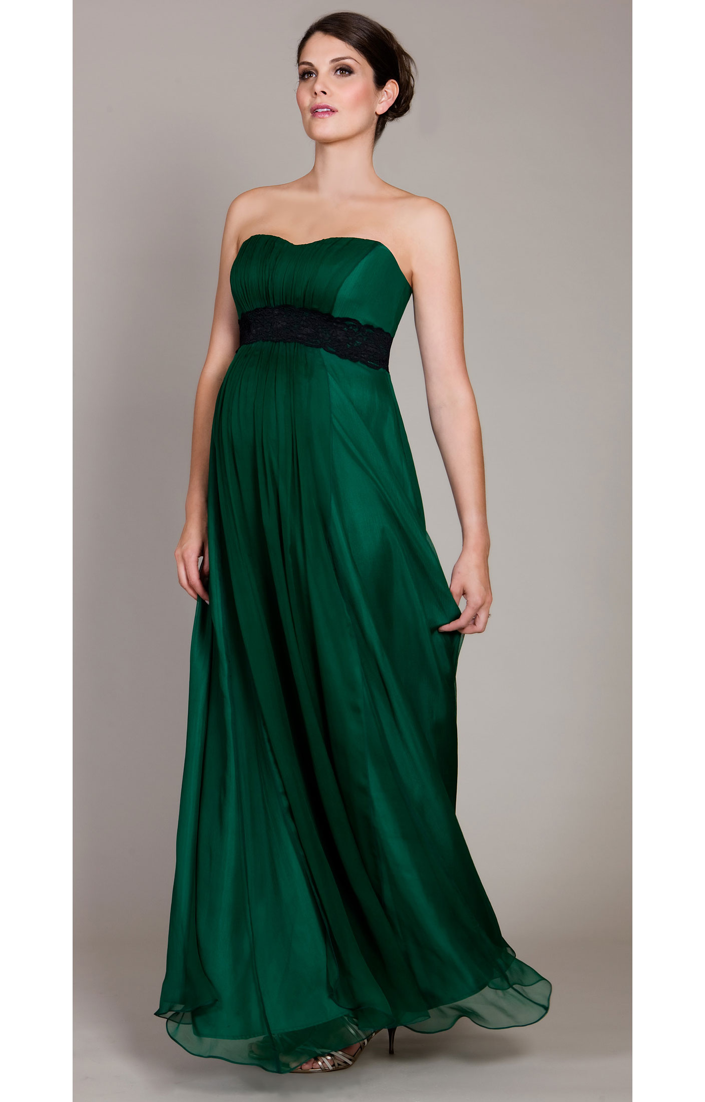 Emerald Green Dress With Black Lace - Fashion Week Collections