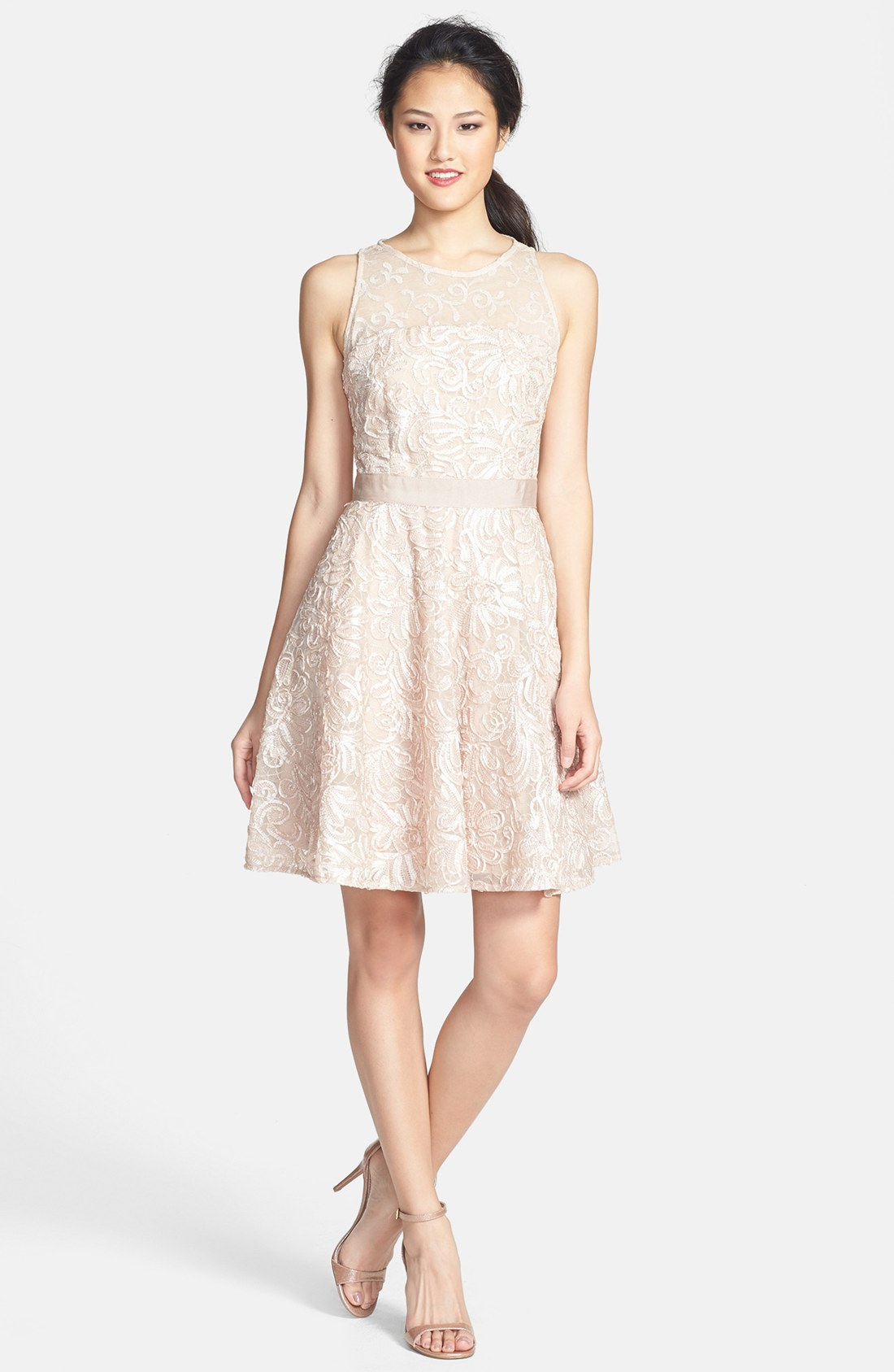 Lace Top Fit And Flare Dress & Help You Stand Out