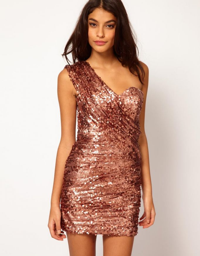 Rose Gold Long Sequin Dress - Details 2017-2018