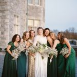 emerald green and gold bridesmaid dresses